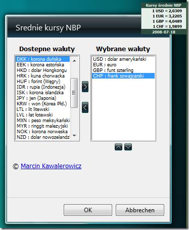 Wybor kursow walut z Narodowego Banku Polskiego